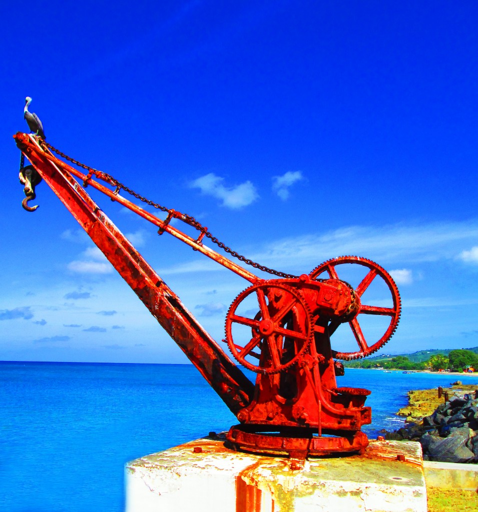 Old Maritime Lifting Crane With Pelican Perched On Top