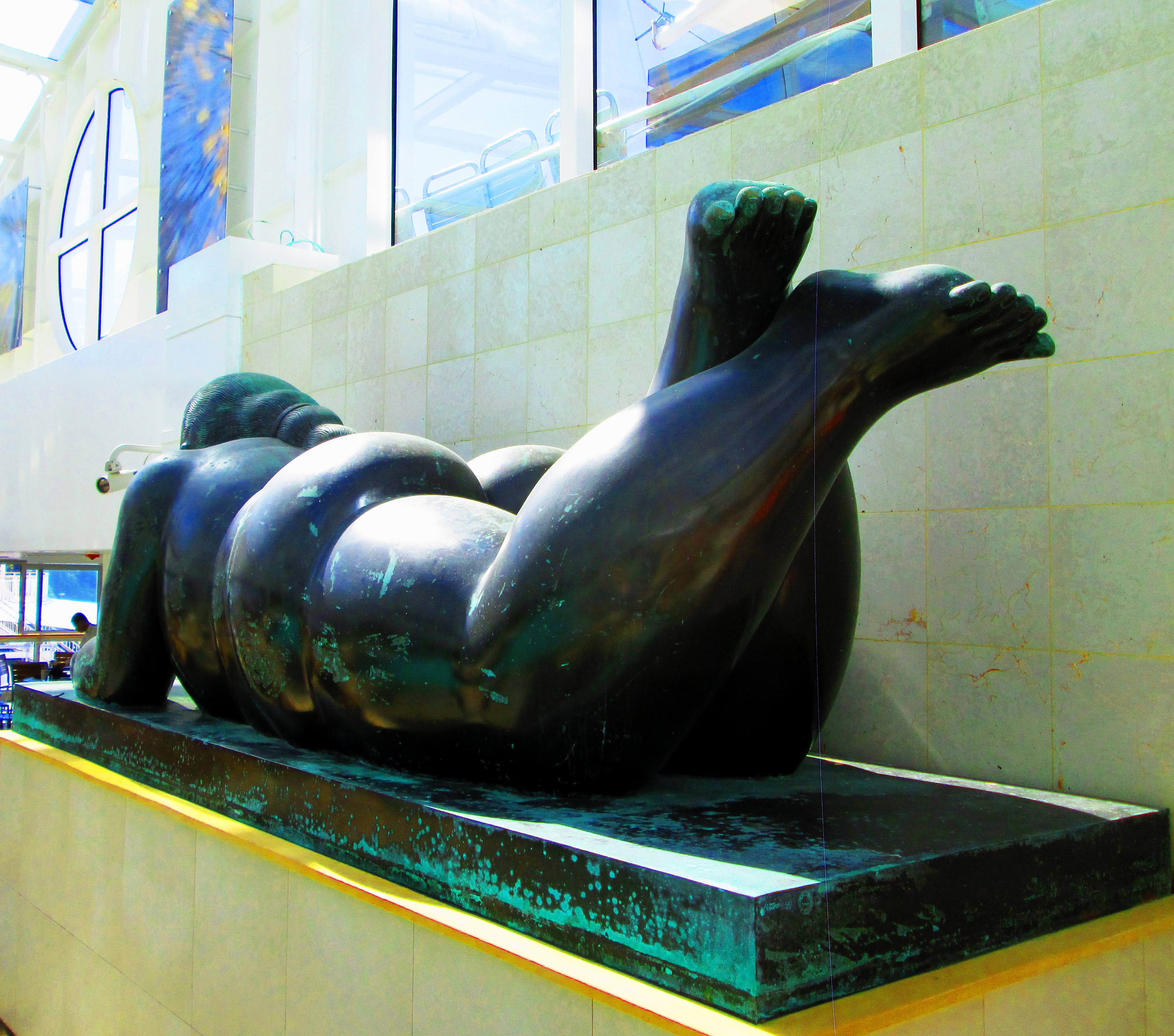 Rear View Of Voluptuous Spa Statue On Cruise Ship