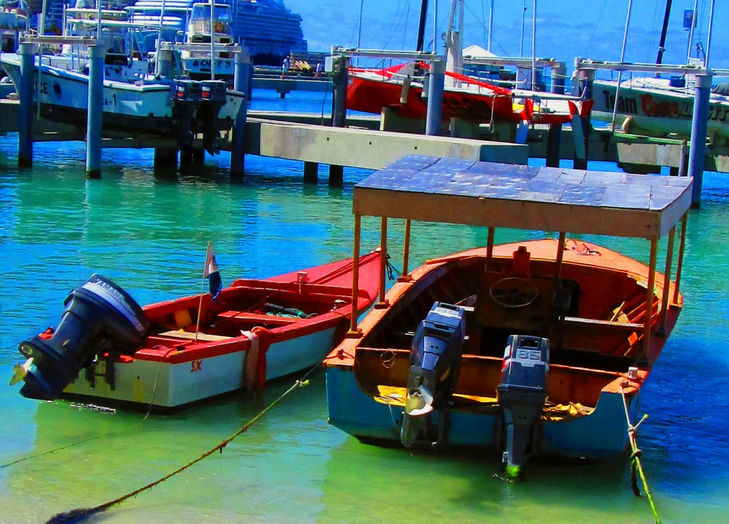 Small fishing platform boats moored in great bay love for St maarten fishing
