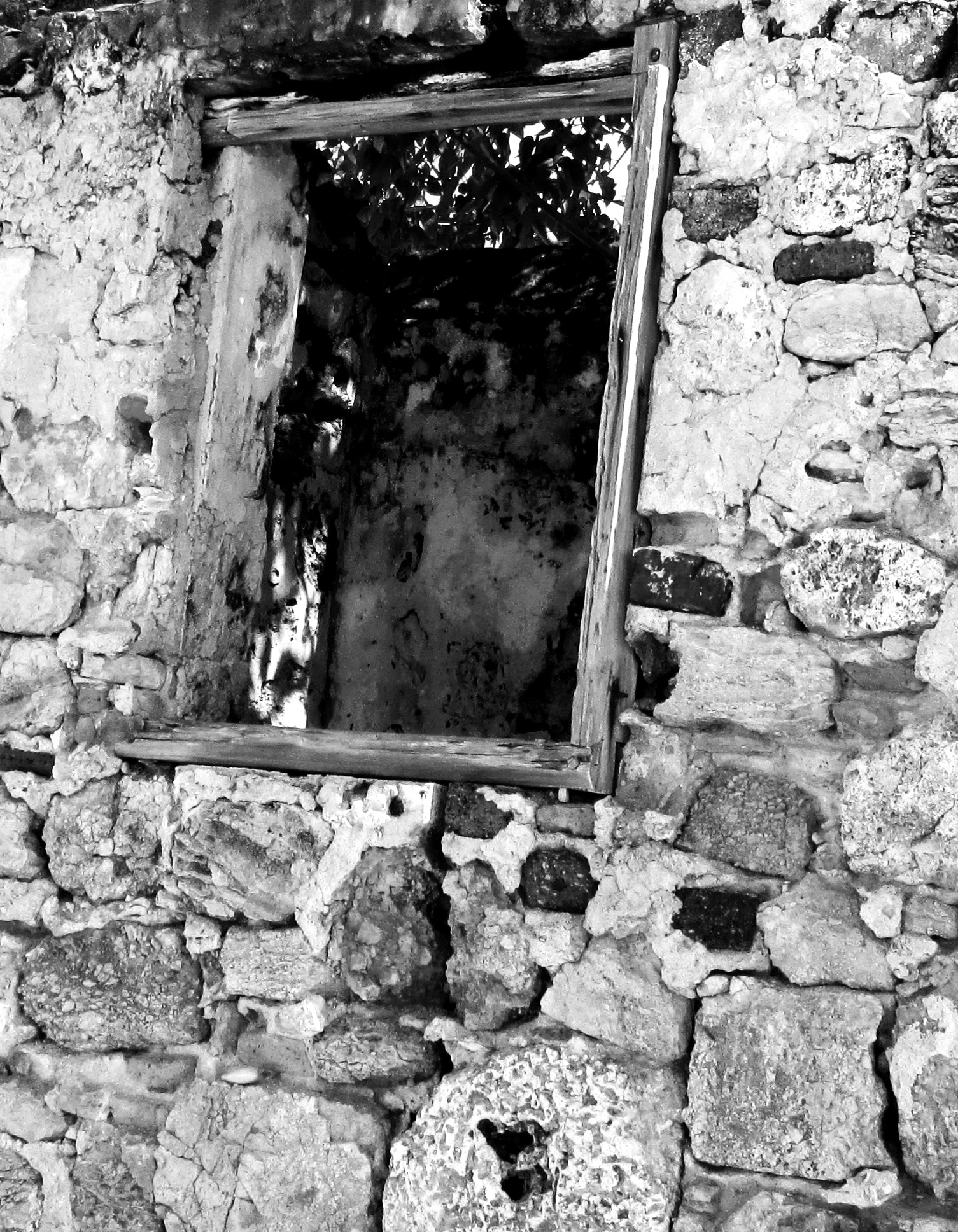 Black & White Of Rotted Beach House Window Frame