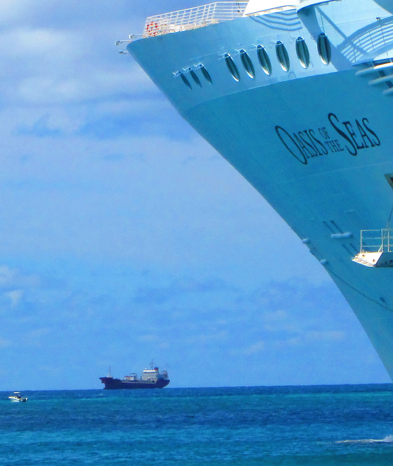 Container Ship Crossing The Bow Of The Oasis Of The Seas