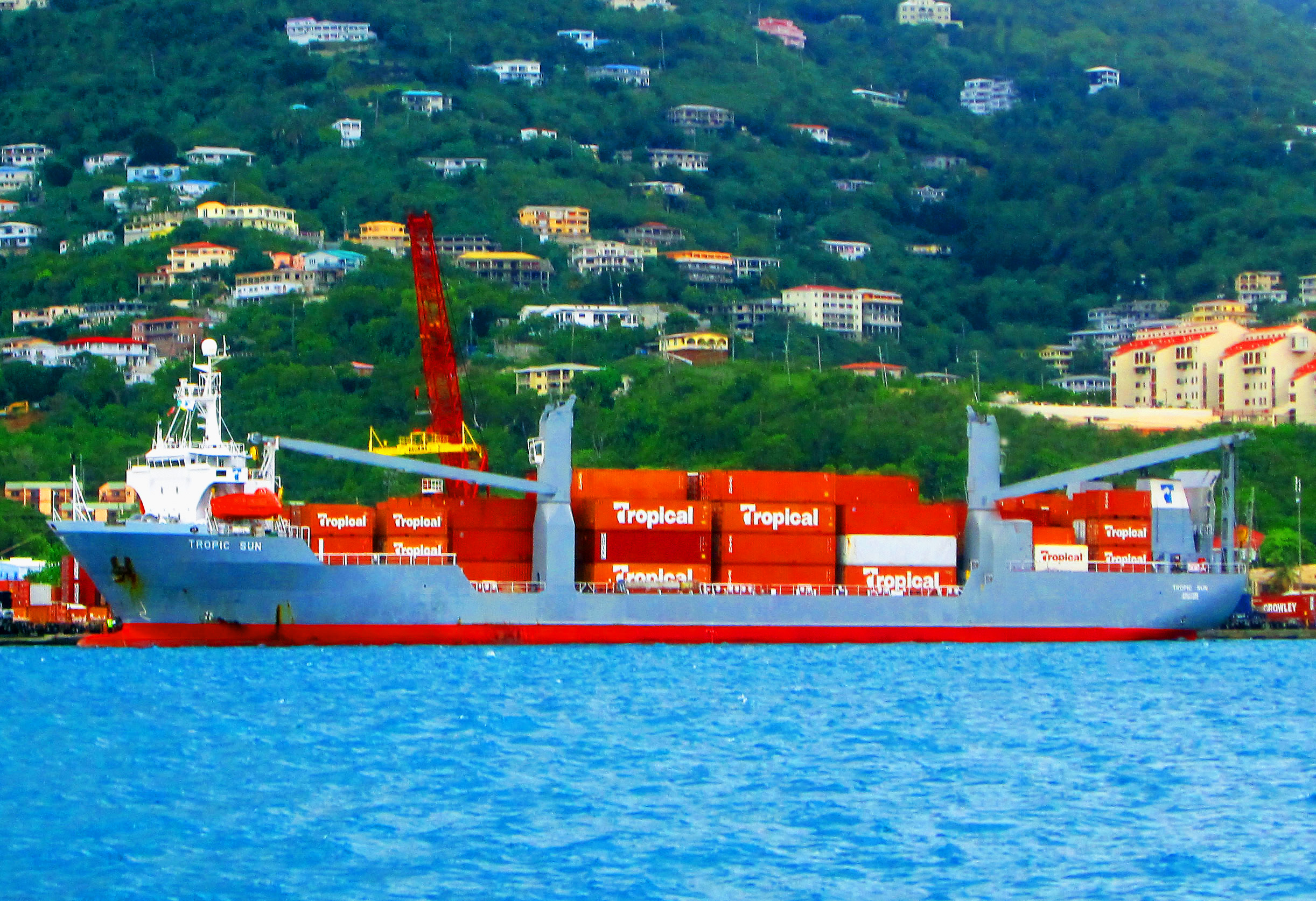 Container Ship Docked In St Thomas