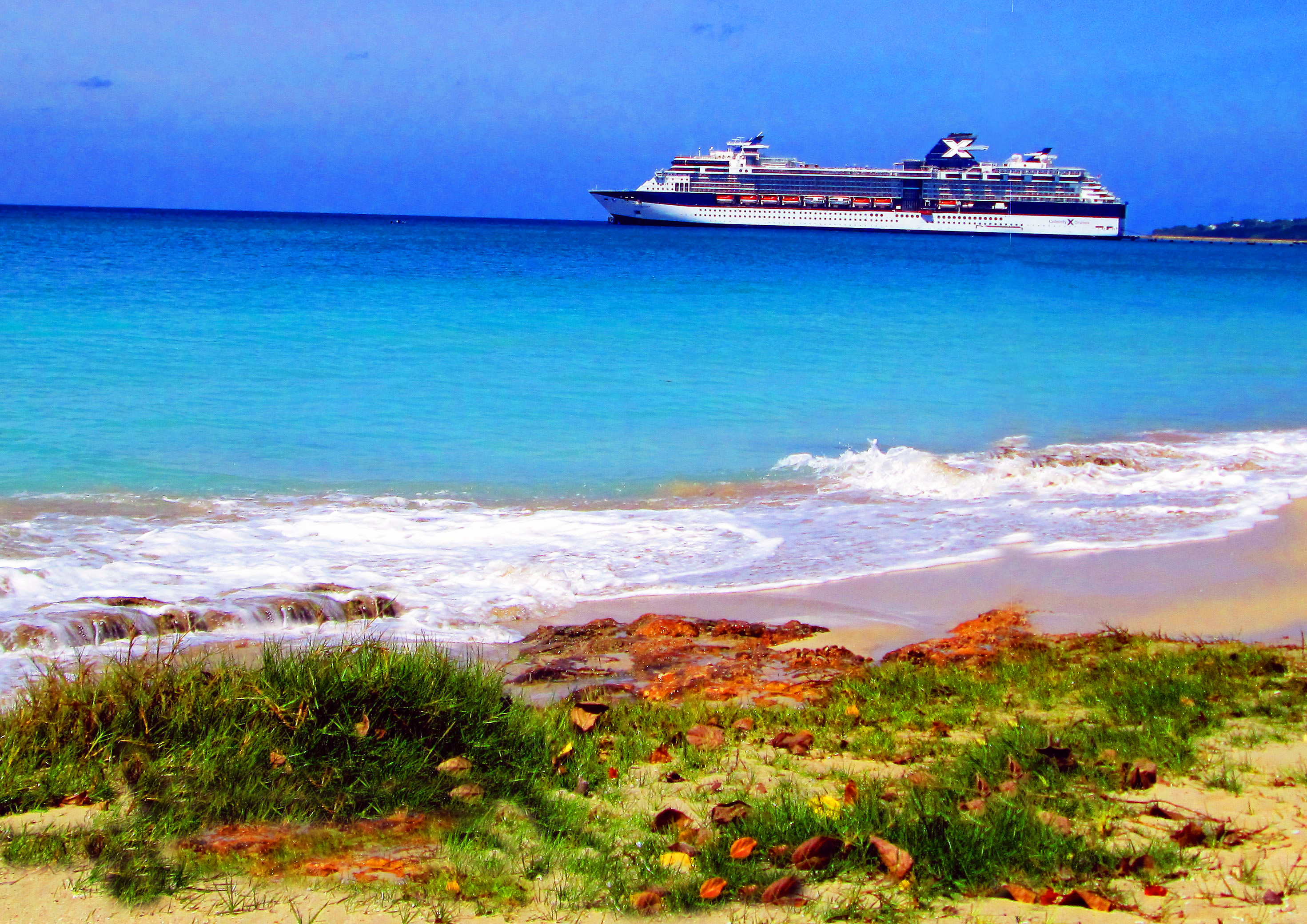 Cruise Ship Docked Off Rainbow Beach In Frederiksted