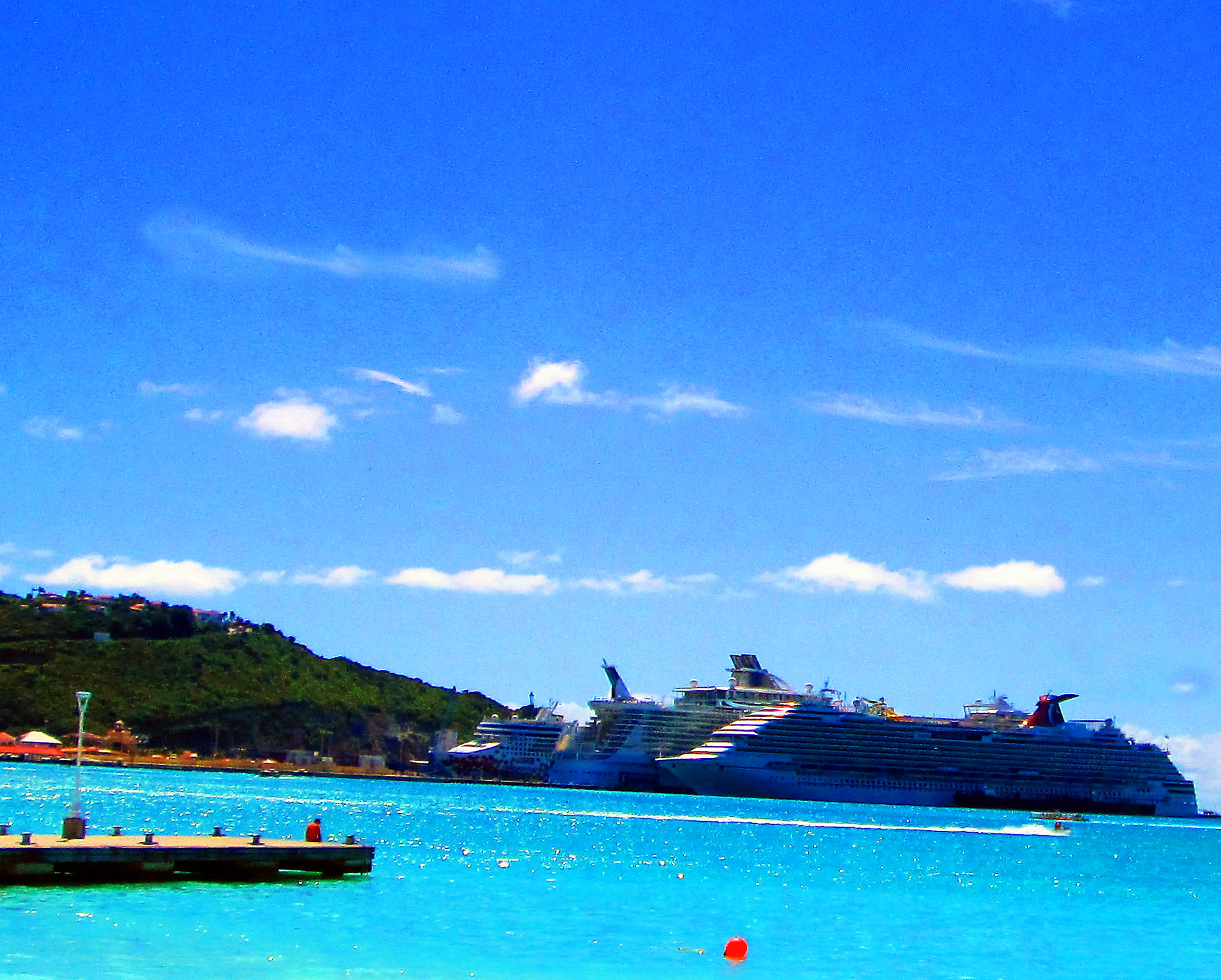 Cruise Ships Docked In A Caribbean Port
