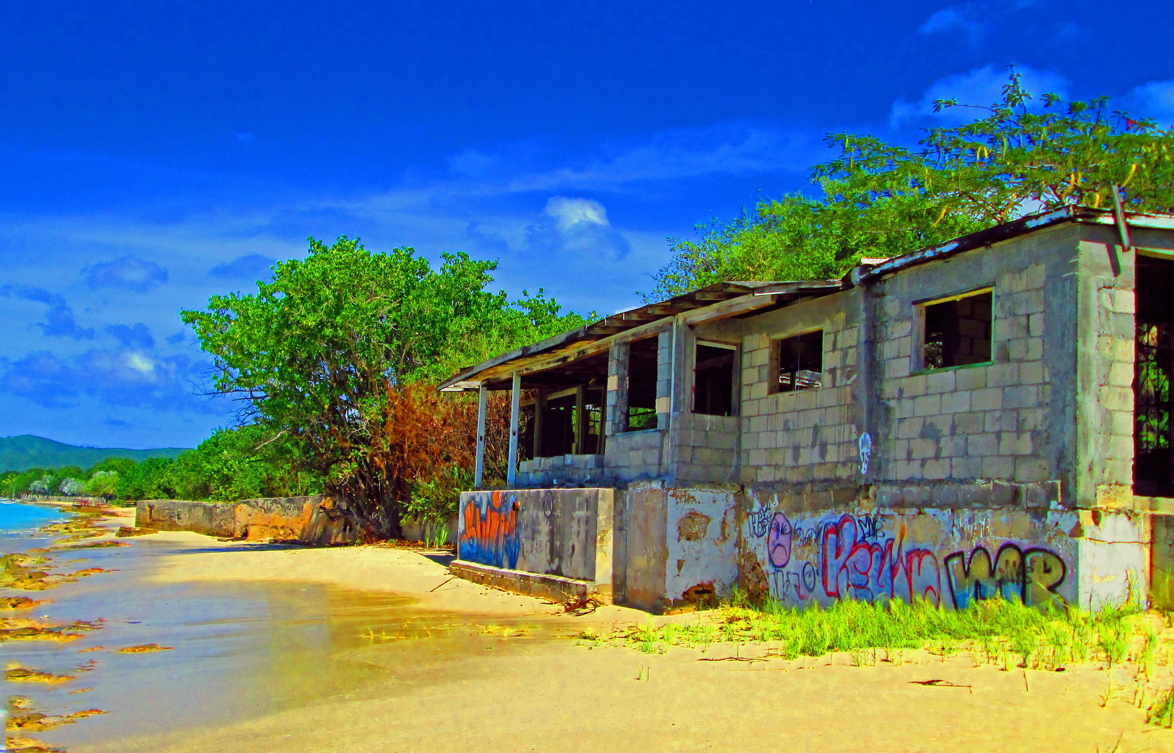 Graffiti-ed Caribbean Beach Building