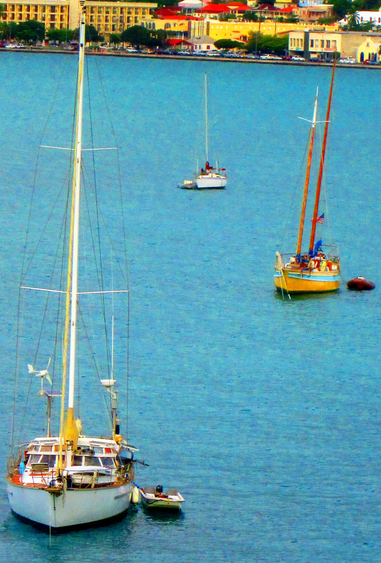 Moored Sail Boats On St Thomas Bay