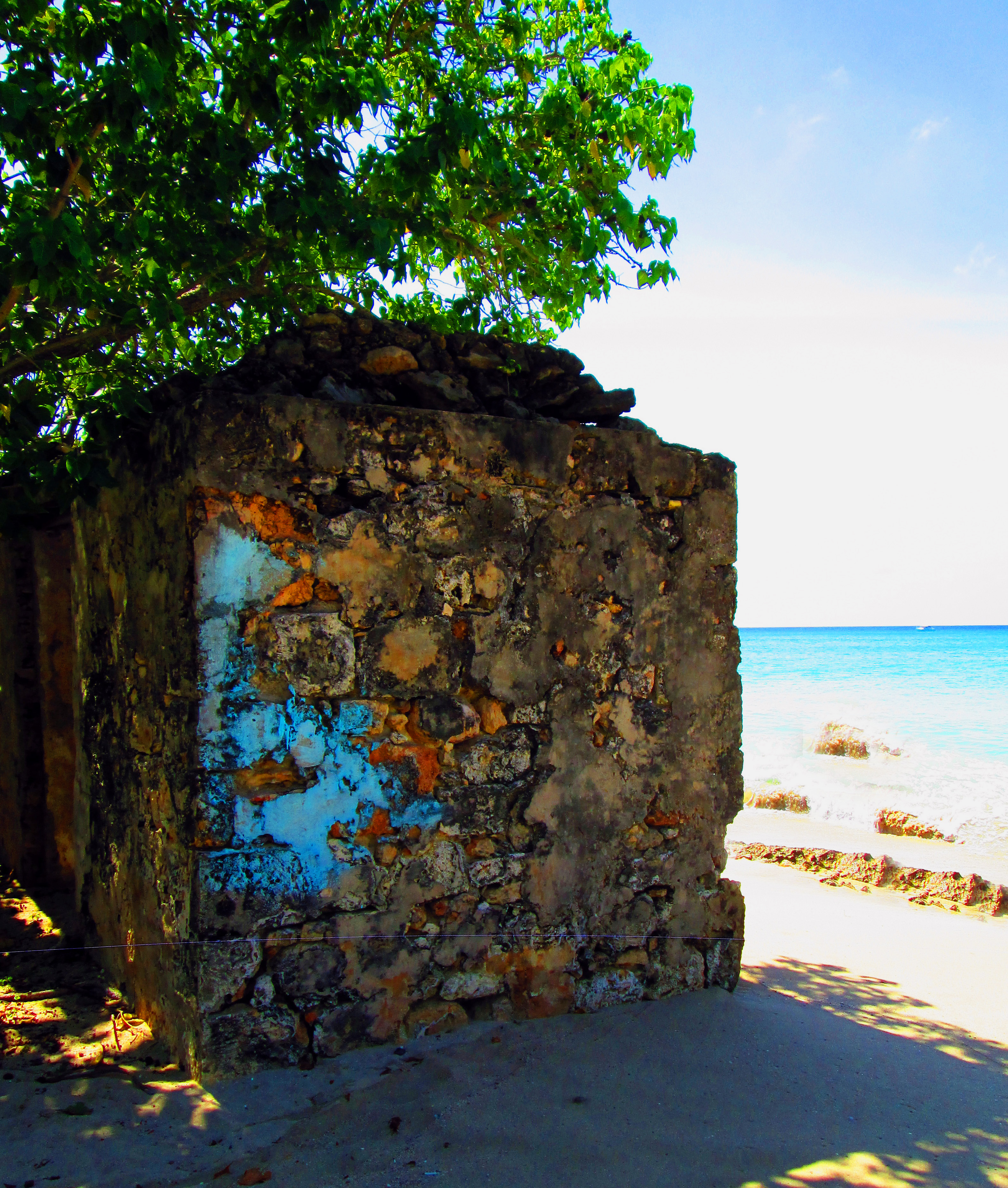 Old Stone Building On Caribbean Beach