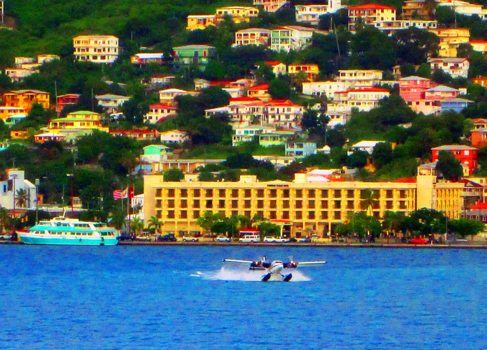 Sea Plane Touching Down In St Thomas Harbor