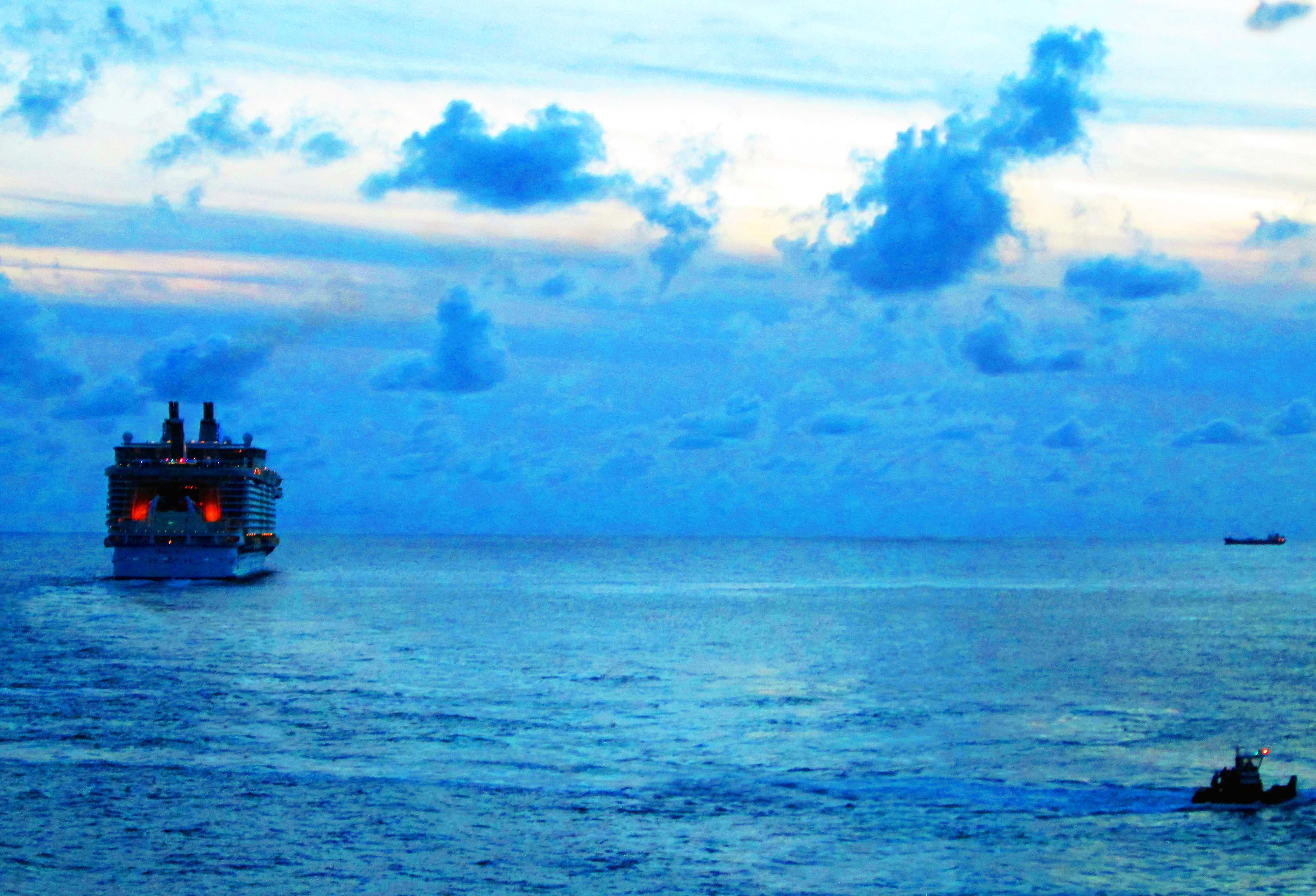Ships At Dusk In The Caribbean Sea
