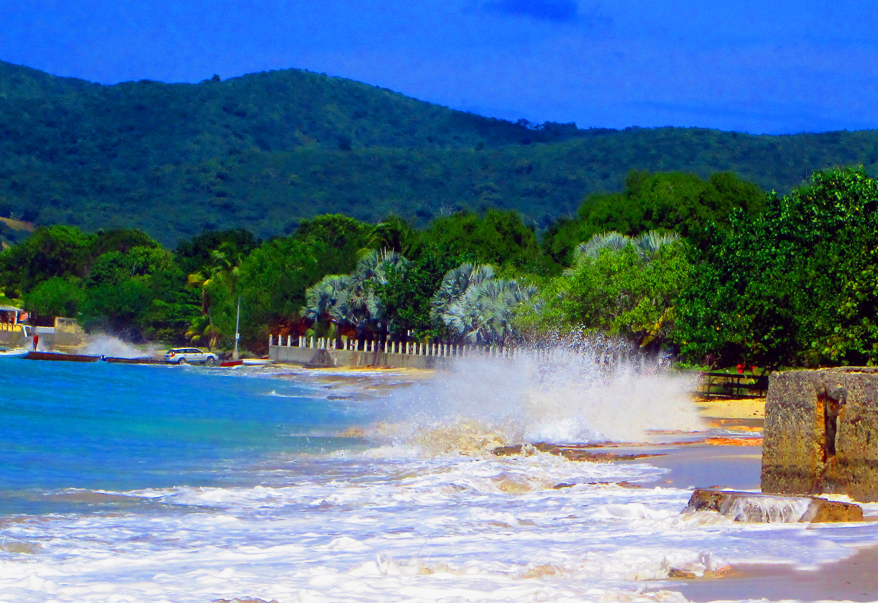 Splashing Surf On Virgin Island Beach