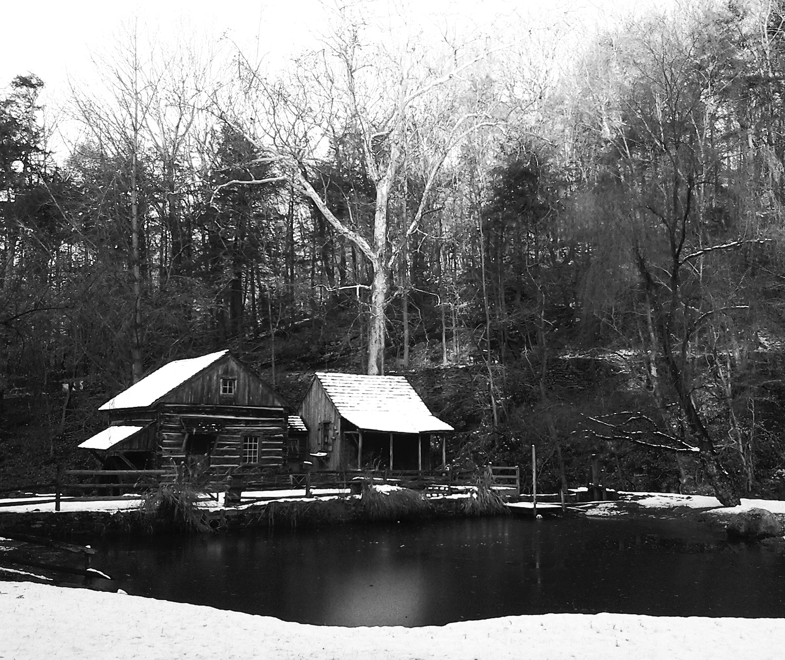 Black & White Of County Cabin In The Snow