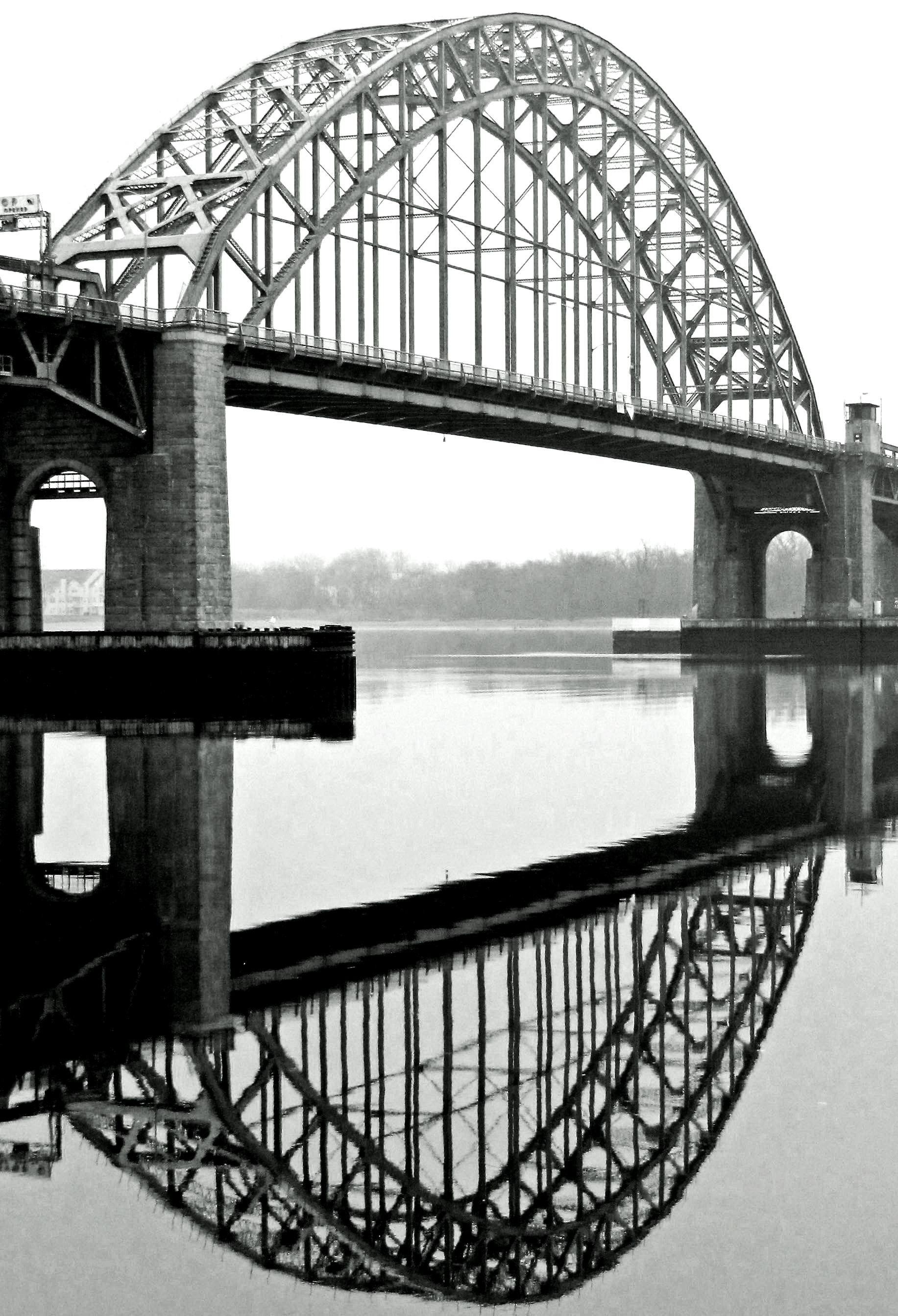 Black & White Reflection Of Draw Bridge Arch