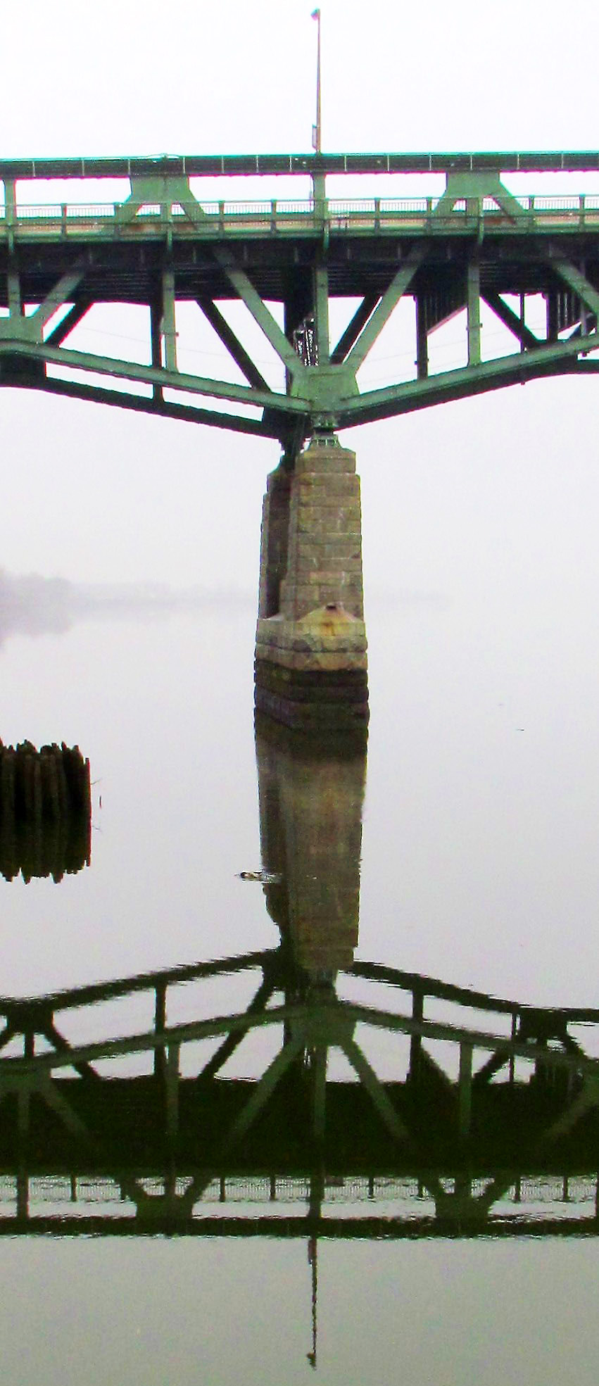 Bridge Foundation Pillar Reflection On The Delaware