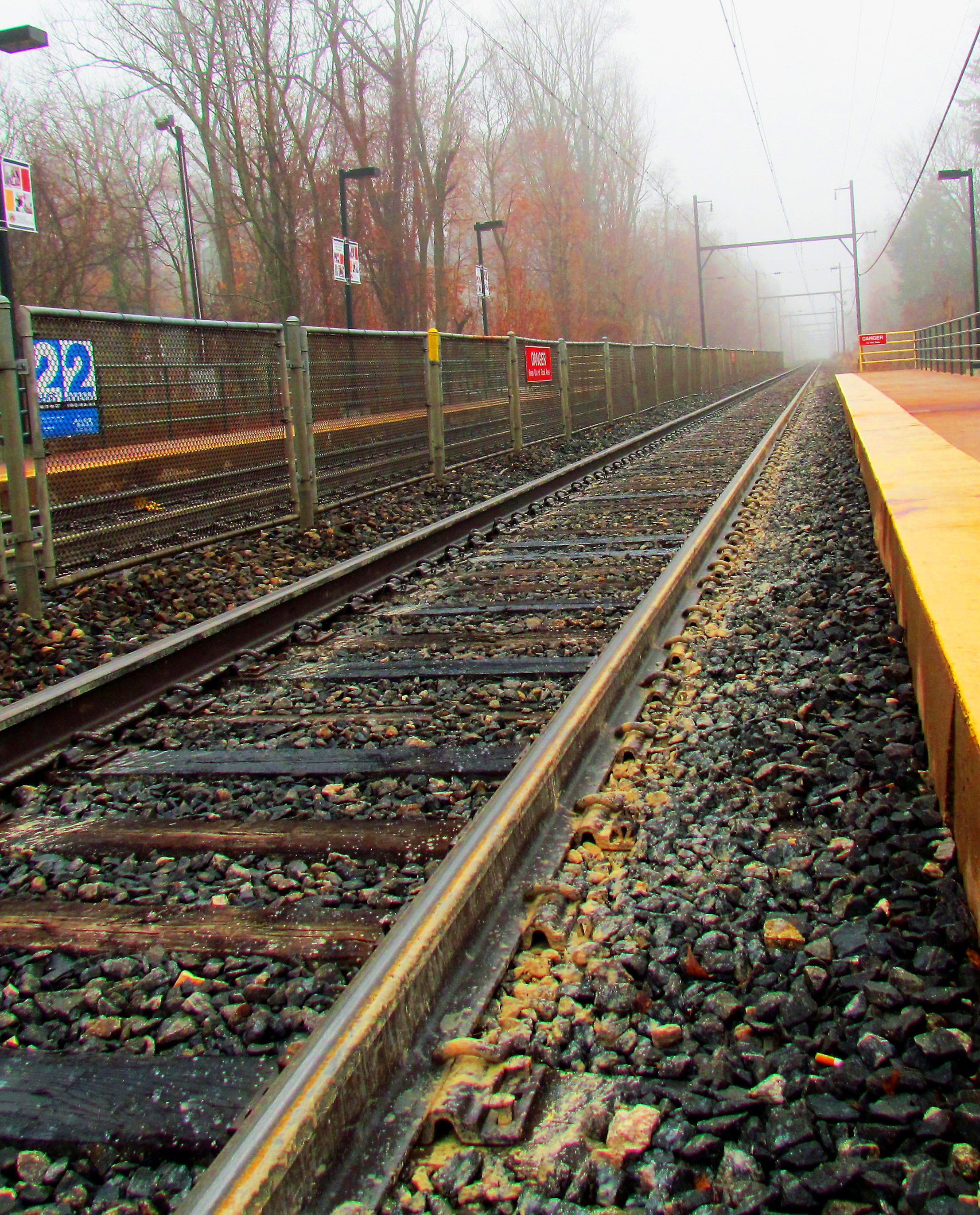 Commuter Rail Line Stop & Tracks