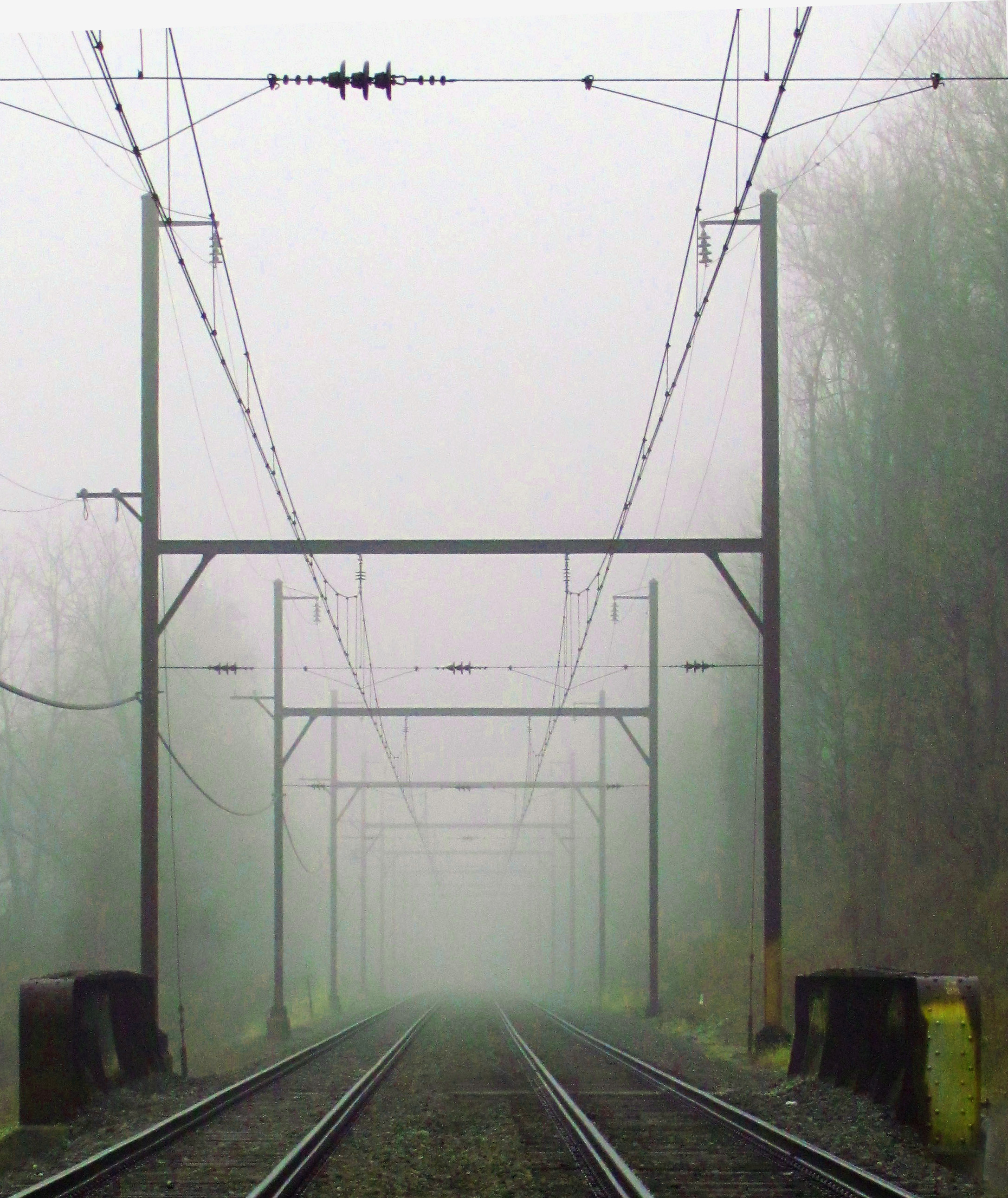 Commuter Rail Lines In The Morning Fog
