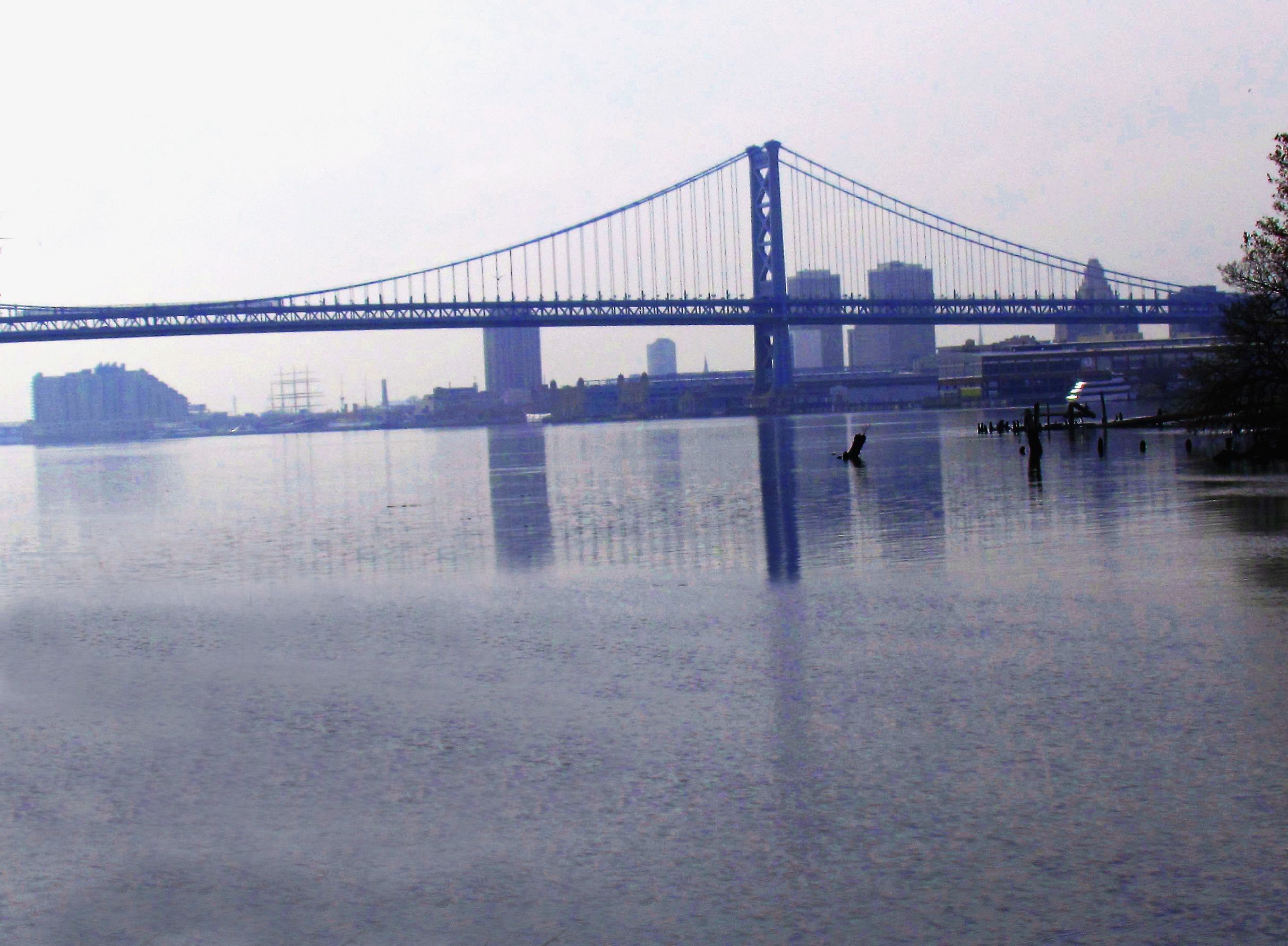 Morning River Reflections Of Penn's Landing & Ben Franklin Bridge