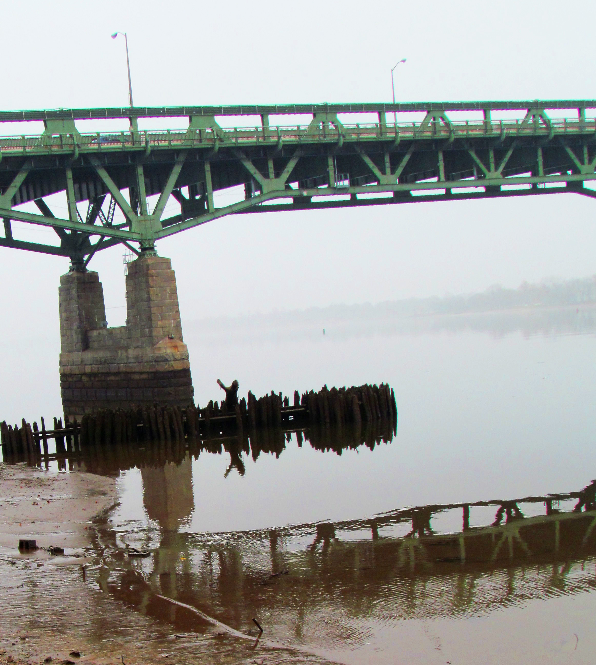 Tacony Bridge & River Jetty Water Reflection