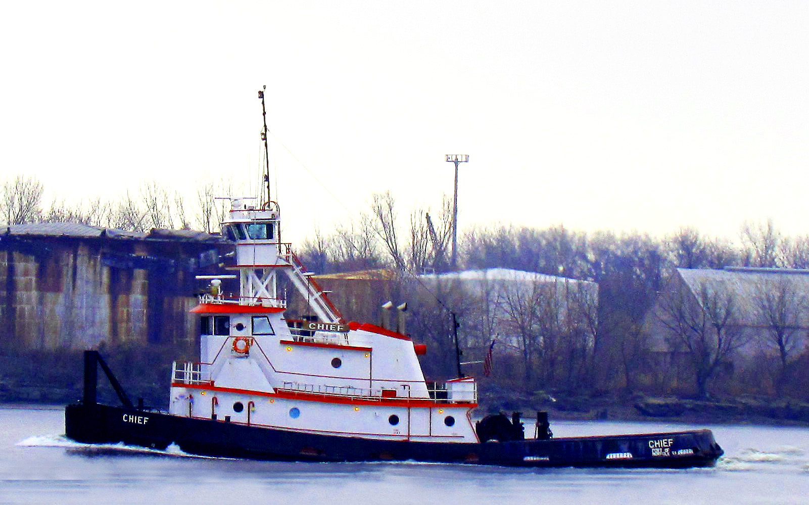 Tugboat Chief Northbound On The Delaware