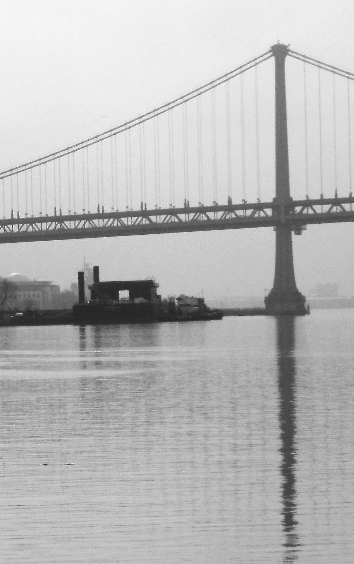 Black & White Ben Franklin Bridge & Camden Docks