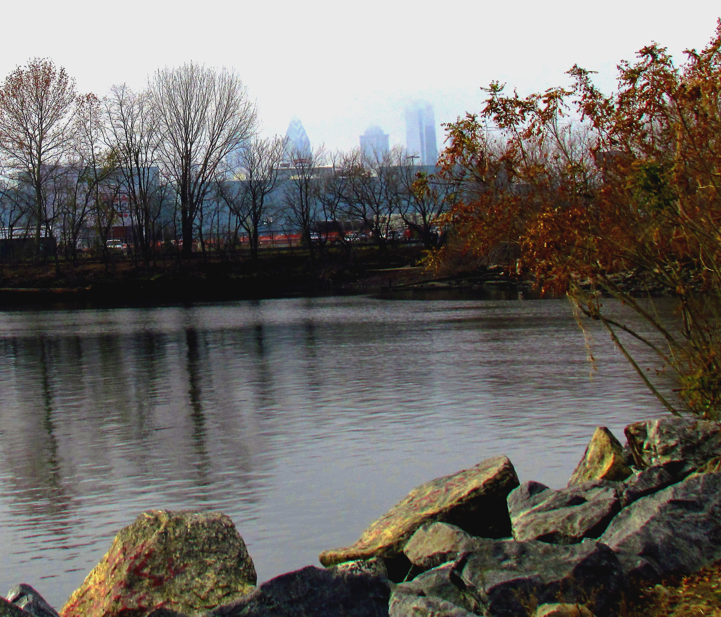 Philadelphia Skyline From Penn Treaty Park Cove