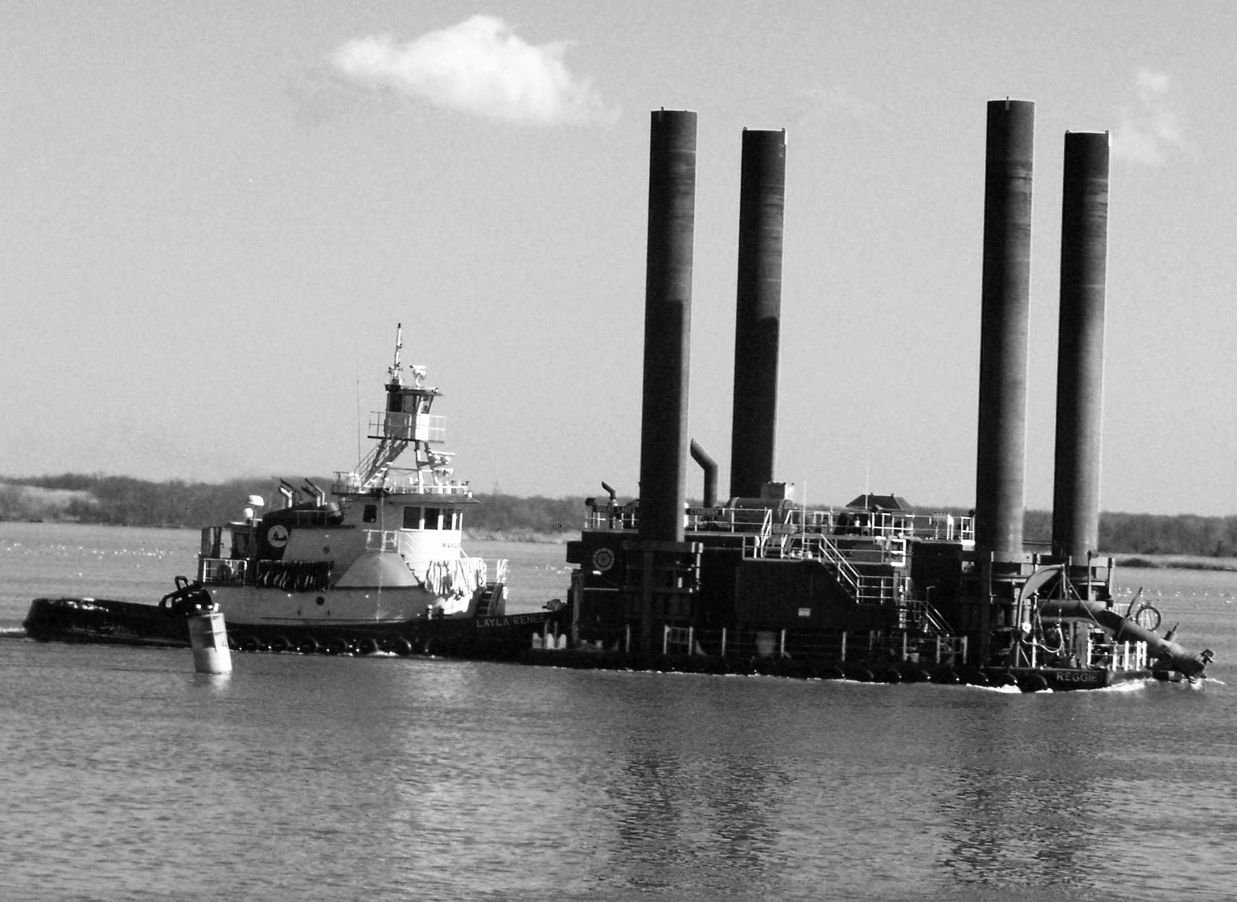 Black & White Of Tug Layla Renee On The Delaware