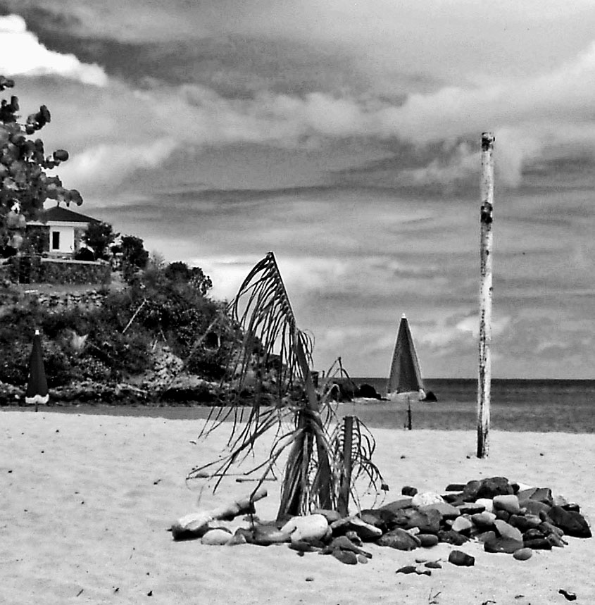 Black & White Stormy Skies Over Dawn Beach