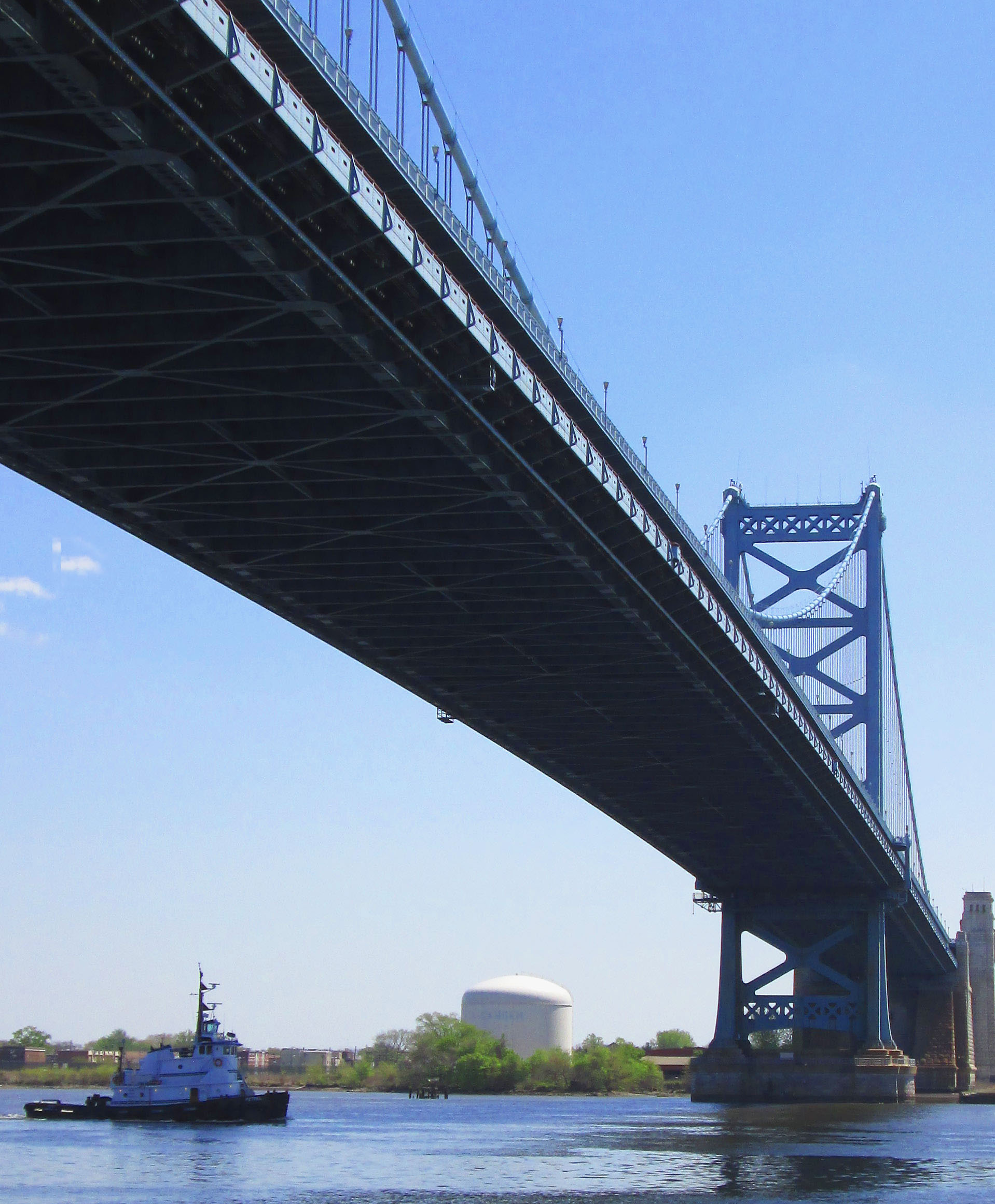 Tug Boat Petrel Passing Under The Ben Franklin Bridge