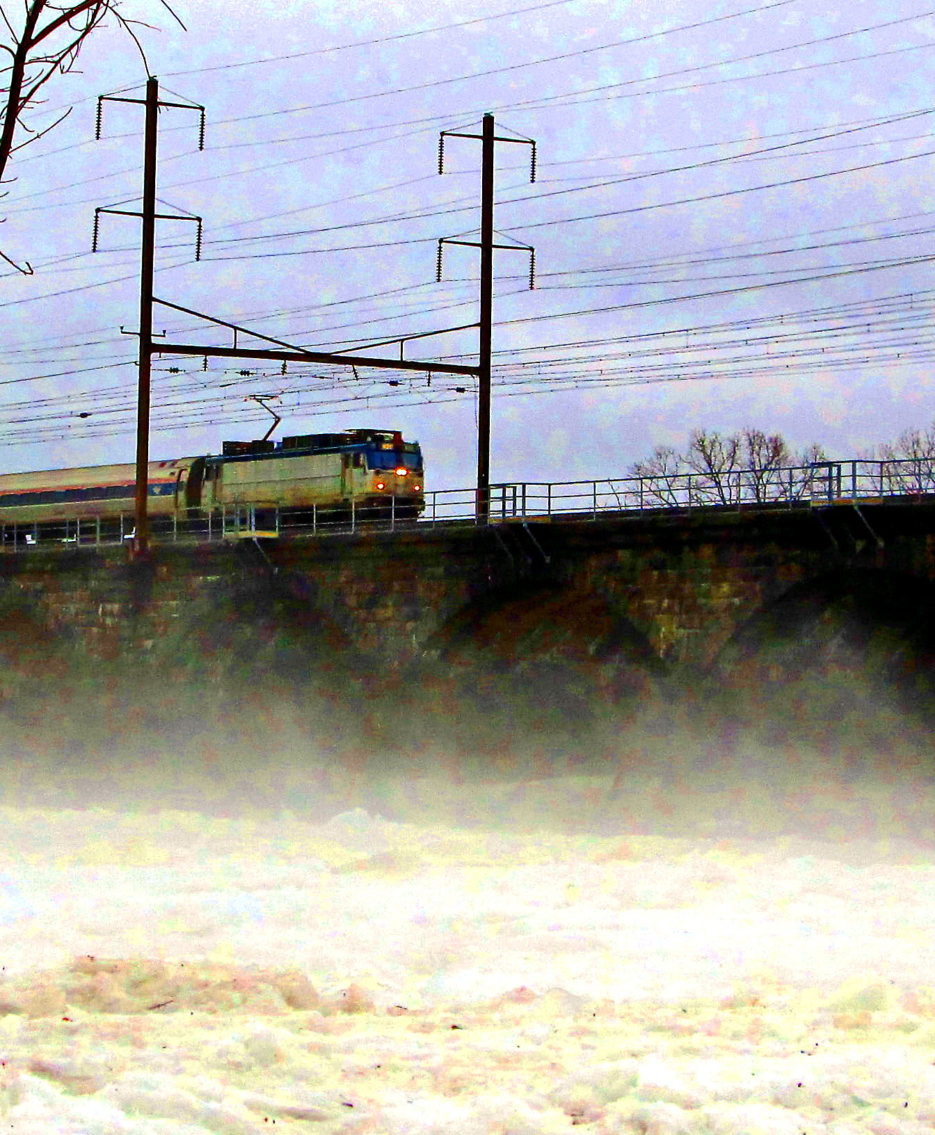 Amtrak Metroliner Crossing Foggy Ice Jammed Delaware River