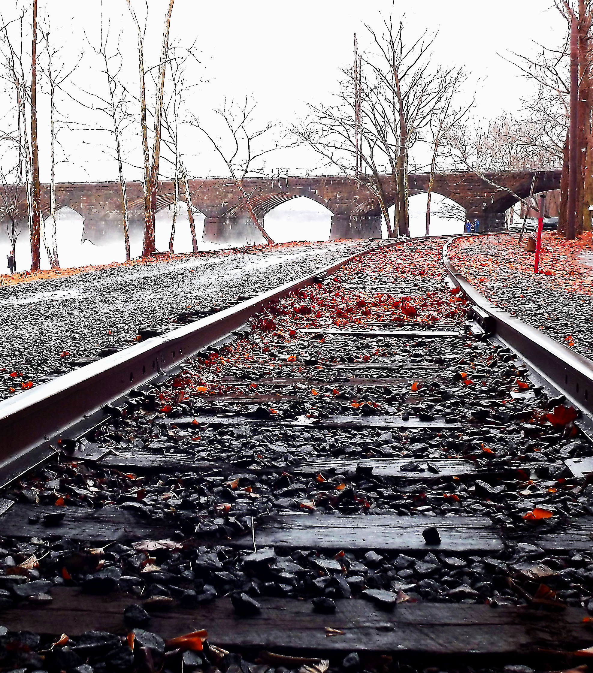 Rail Road Track Along The Delaware In Morrisville Pa