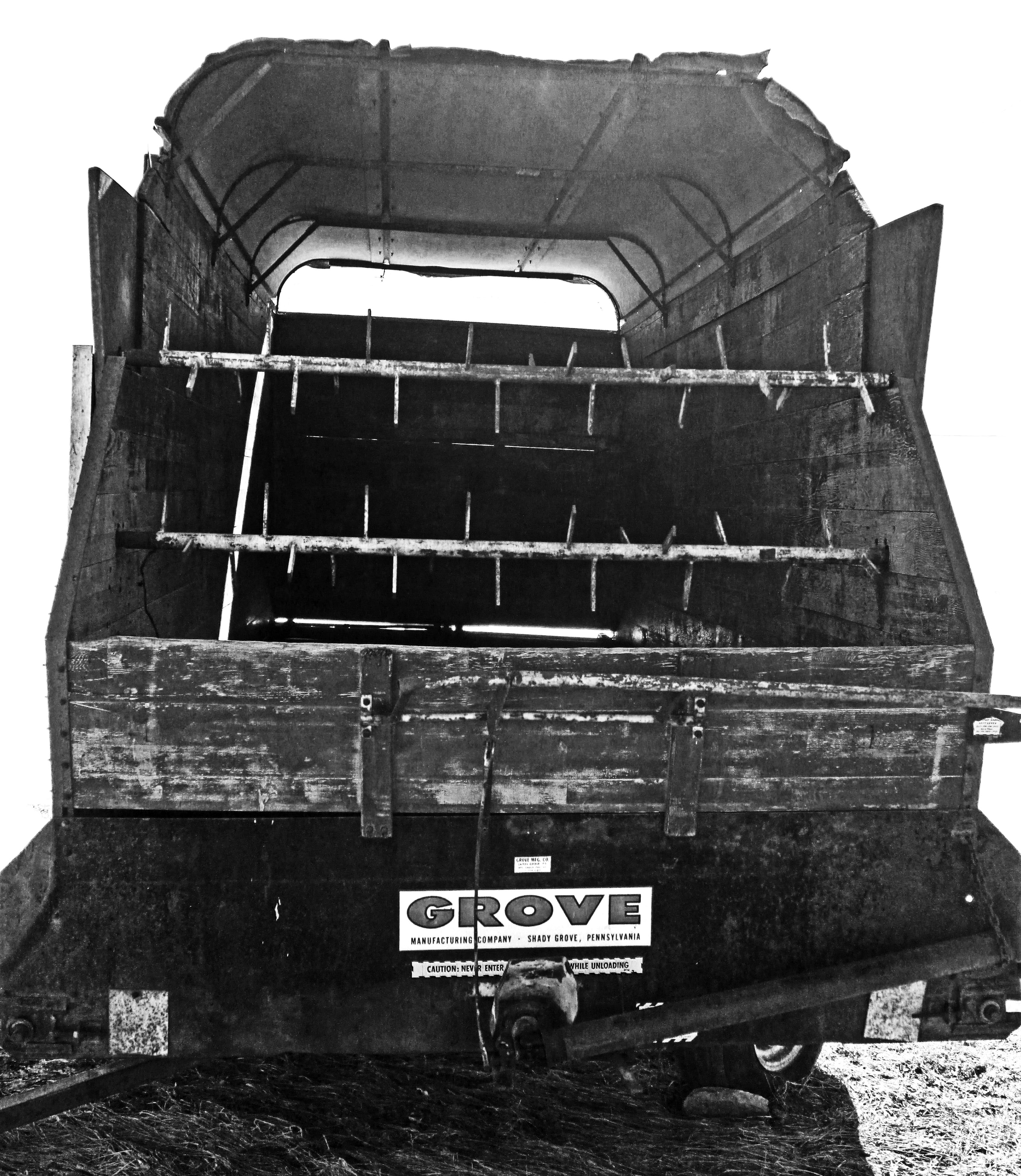 Black & White Of Old 20 Foot Grove Silage Farm Wagon