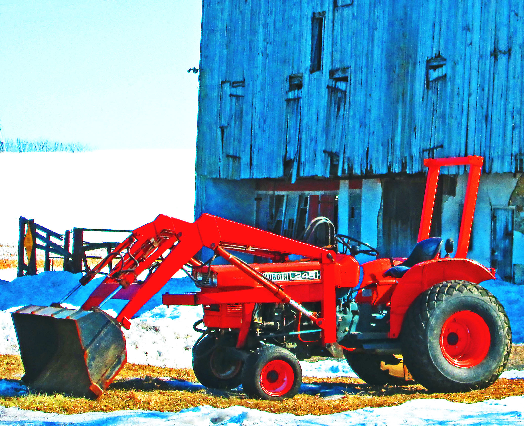 Red Kubota L245 Tractor With Front End Loader