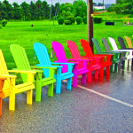Adirondack Chairs On Display In The Rain