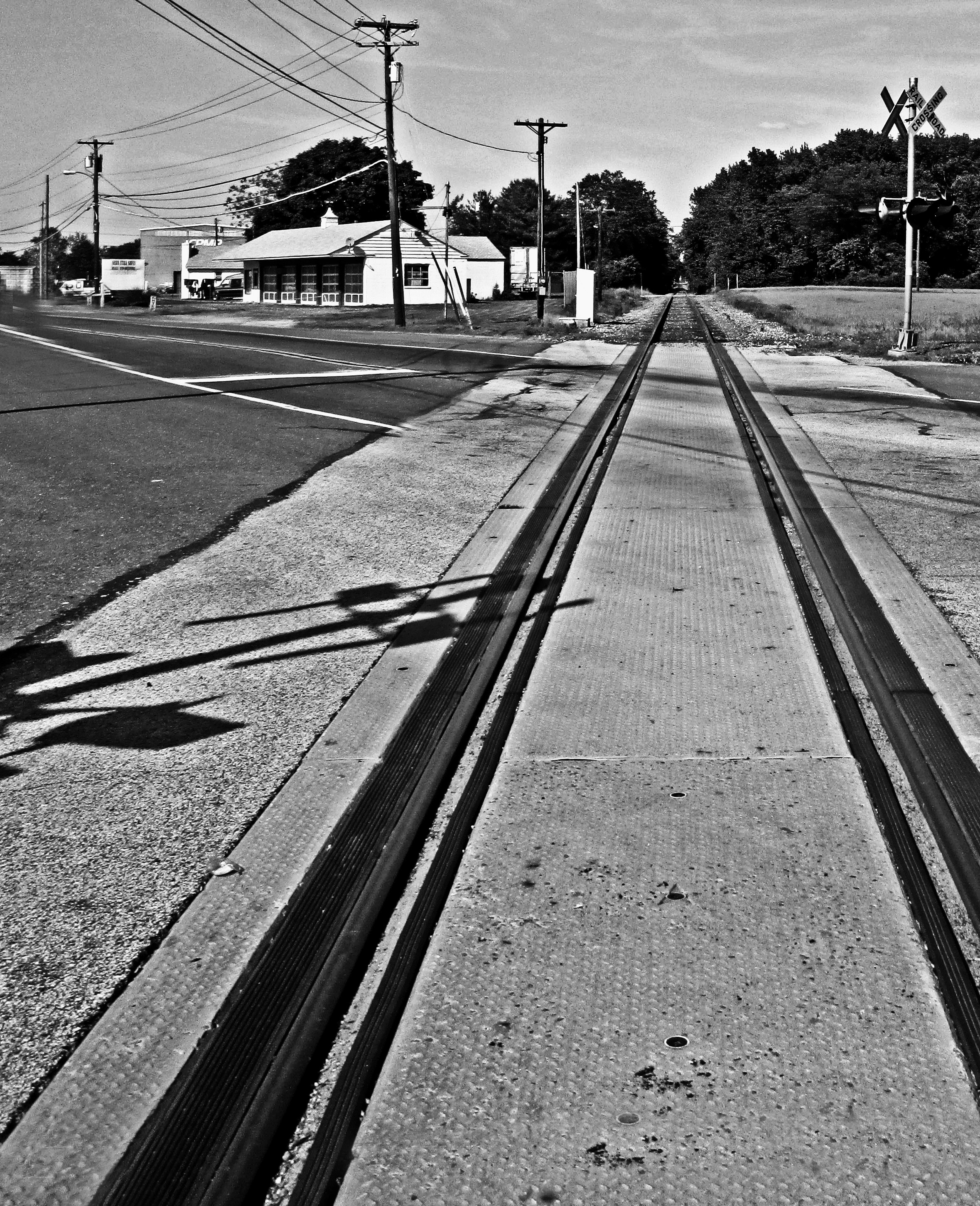 Black & White Of Rails, Signal & Shadow
