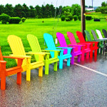 Wooden Adirondack Chairs Lined Up