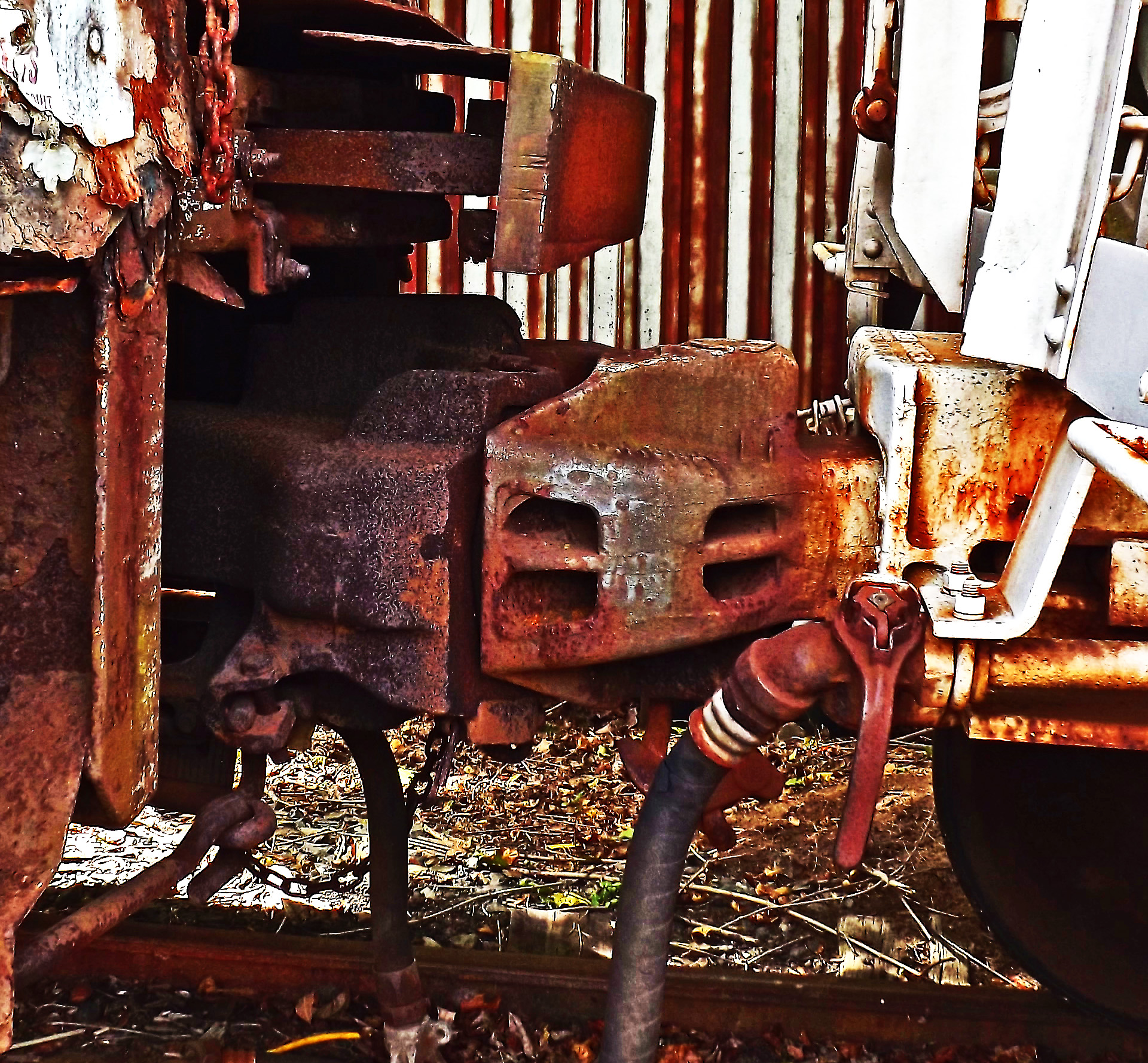 Rusted Rail Car Couplers