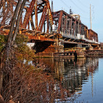 Old Swivel Railroad Bridge Reflecting On Schuylkill River