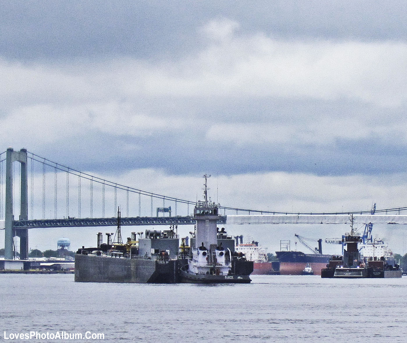 Tugging Barges South On The Delaware