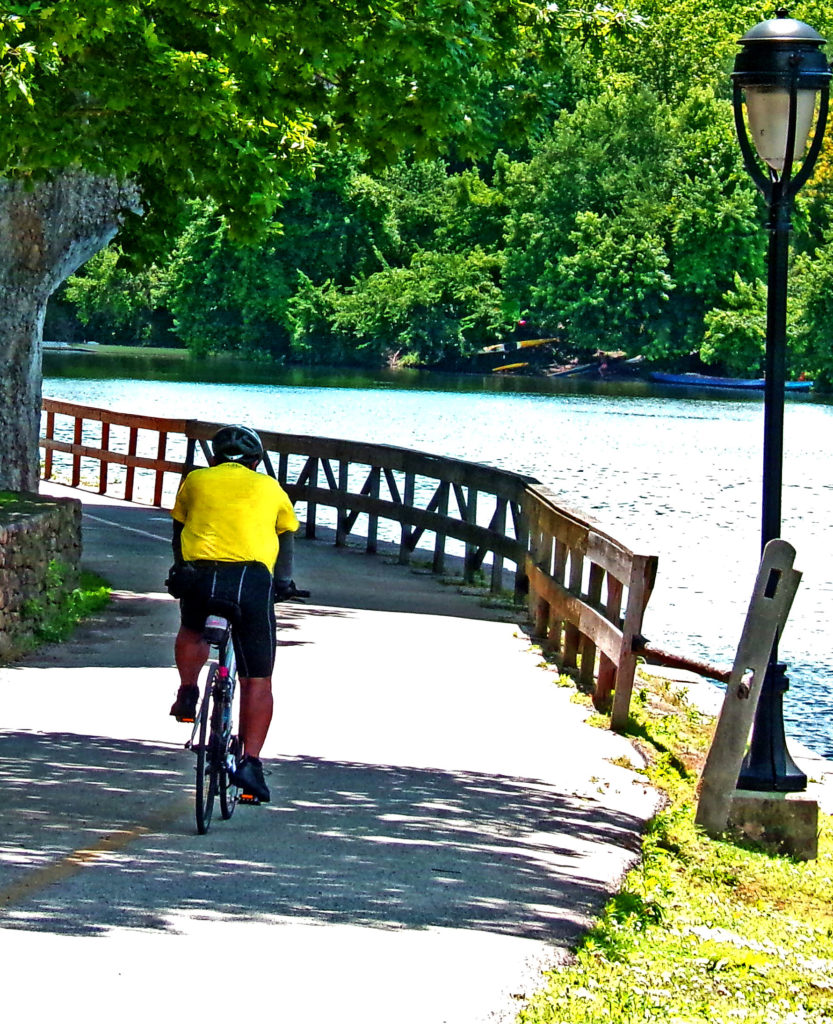 Yellow Shirt Taking A Curve On Philly's Schuylkill Trail