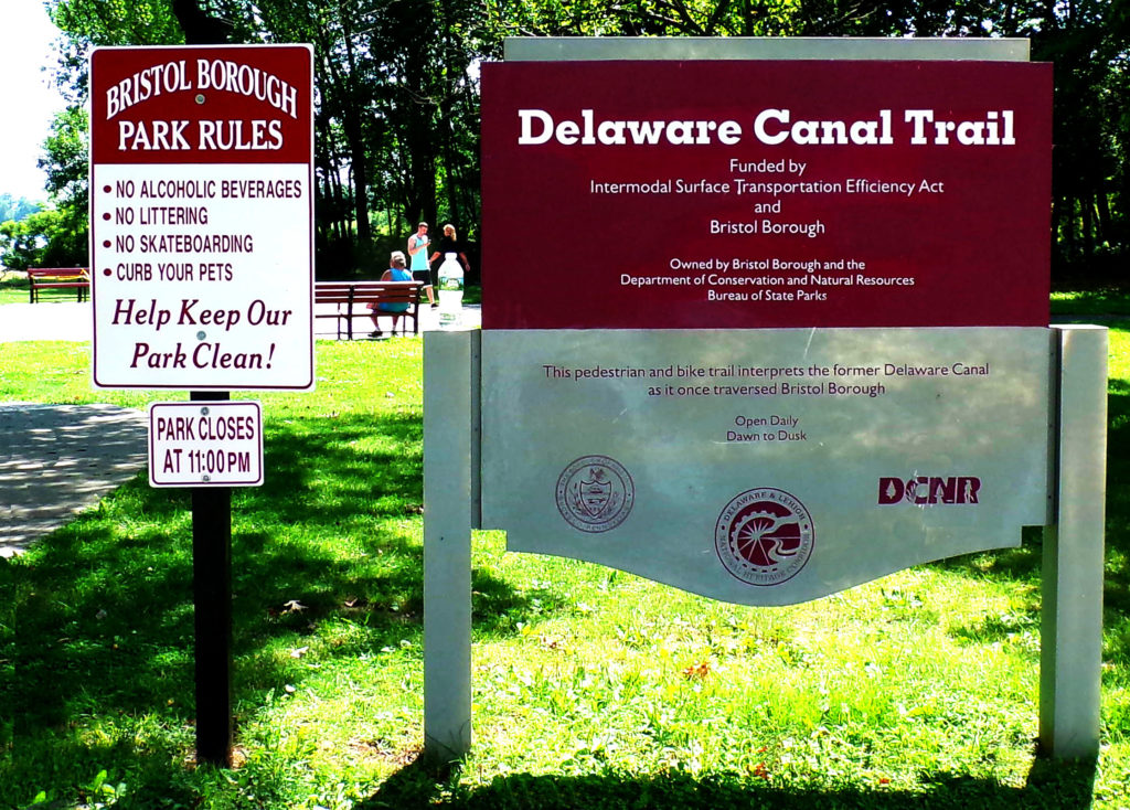 Delaware Canal Trail Sign In Lions Park