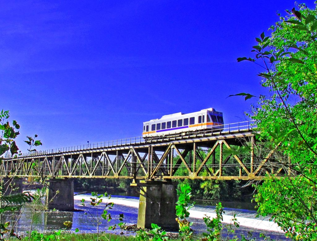 Trolley Train On Norristown Viaduct